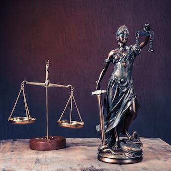 Advocatenkantoren van advocaten juridisch standbeeld griekse blinde godin themis bronzen metalen beeldje met schalen van gerechtigheid.