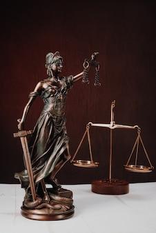 Advocatenkantoren van advocaten juridisch standbeeld griekse blinde godin themis bronzen metalen beeldje