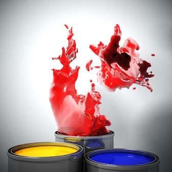 Afbeelding 3d van kleur splash explosie achtergrond