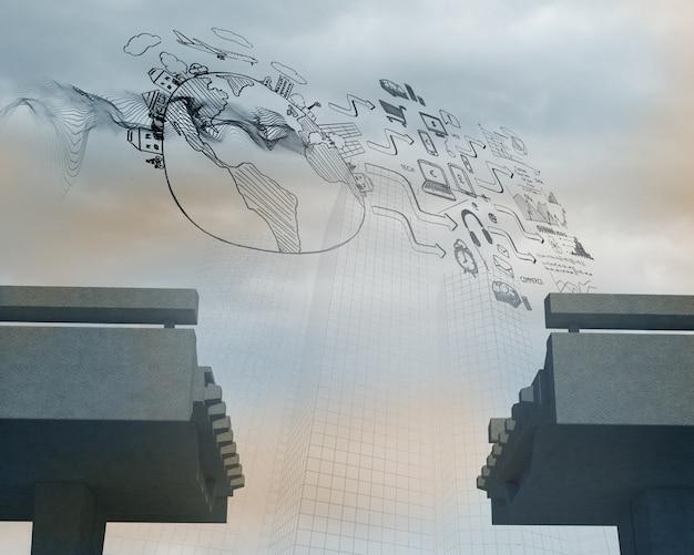 Afbeelding op raster over gebroken brug
