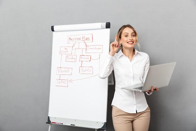 Afbeelding van aantrekkelijke zakenvrouw in formele kleding met behulp van flip-over en laptop tijdens het maken van een presentatie op kantoor, geïsoleerd