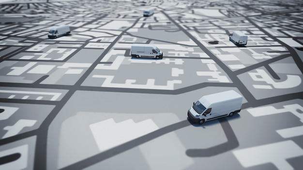 Afbeelding van de kaart van straten met vrachtwagens