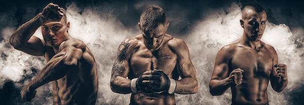 Afbeelding van drie mixed martial arts-jagers tegen een rokerige achtergrond. boksen, kickboksen, muay thai concept. van hoge kwaliteit