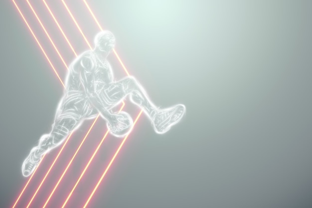 Afbeelding van een basketbalspeler in een sprong. creatieve collage, sportflyer. basketbalconcept, sport, spel, gezonde levensstijl. kopieer de ruimte, 3d illustratie, 3d render.