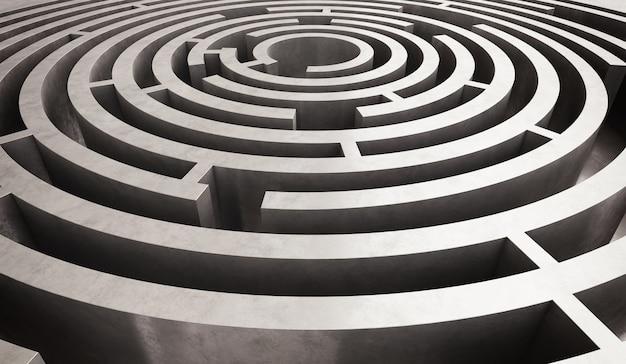 Afbeelding van een moeilijk cirkelvormig doolhof om op te lossen