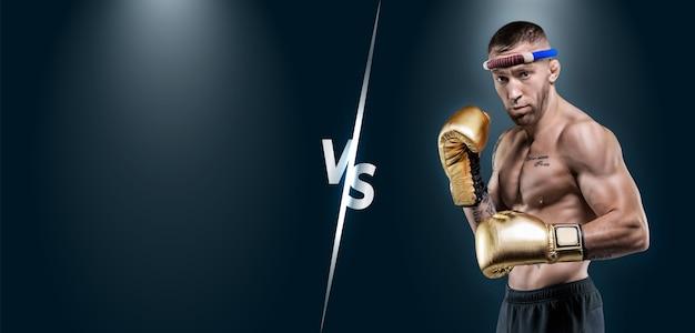 Afbeelding van een professionele thaise bokser. toernooi tafel. muay thai, kickboksen, vechtsportenconcept. gemengde media