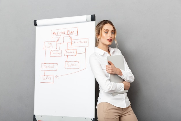 Afbeelding van europese zakenvrouw in formele kleding met behulp van flip-over en laptop tijdens het maken van een presentatie op kantoor, geïsoleerd