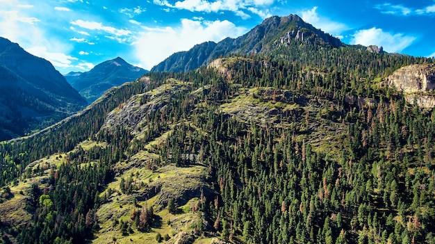 Afbeelding van grote rotsachtige bergen van colorado bedekt met pijnbomen