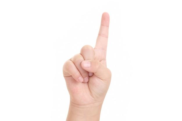Afbeelding van jongen vinger wijzen geïsoleerd op een witte achtergrond.