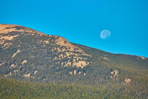 Afbeelding van volle maan overdag tegen een berg bedekt met pijnbomen