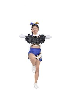 Afbeeldingen van aziatische cheerleader met pom poms