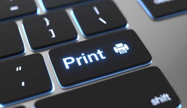 Afdrukconcept. tekst op toetsenbordknop afdrukken.