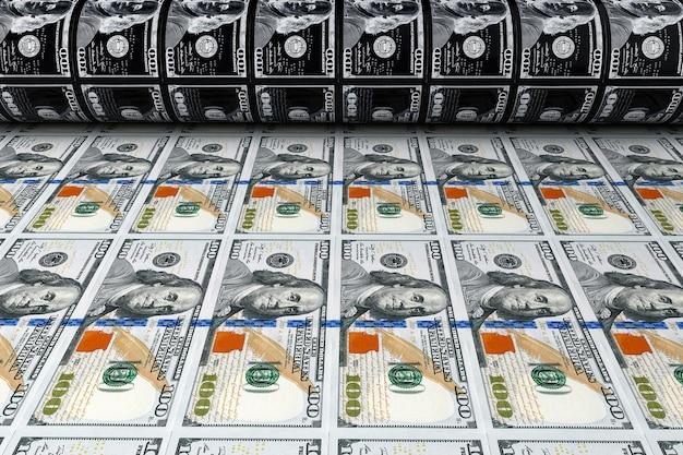 Afdrukken van geld 100 dollarbiljetten extreme close-up. 3d-rendering