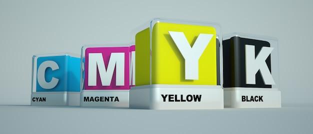 Afdrukkleuren cyaan, magenta, geel en zwart