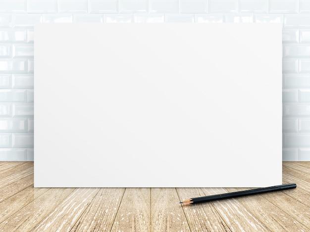 Affichekader bij tegels ceramische muur en houten vloer
