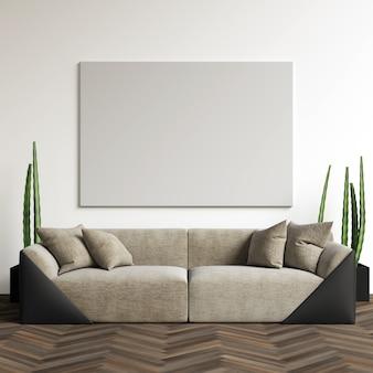 Affichemodel in de woonkamer
