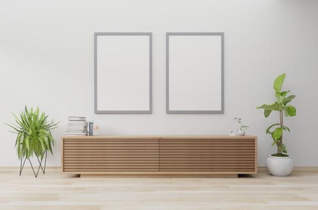 Affichemodel in moderne woonkamer met kabinet en plant