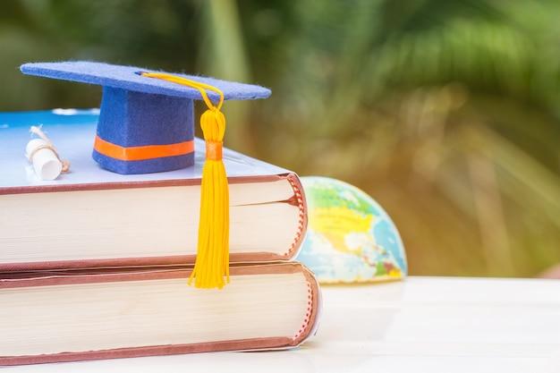 Afgestudeerde of onderwijs kennis leren studie in het buitenland concept: blauwe afstuderen cap op tex