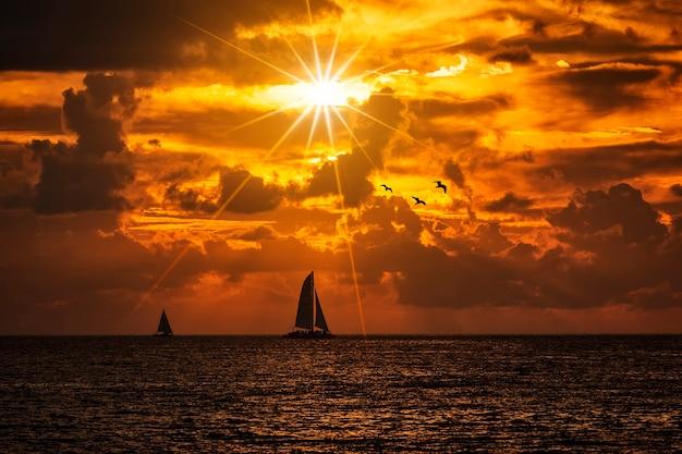 Afgetekende boot die langs zijn reis vaart tegen een levendige kleurrijke zonsondergang met vogels