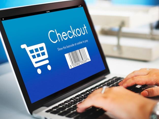 Afrekenen aankoop online winkelconcept
