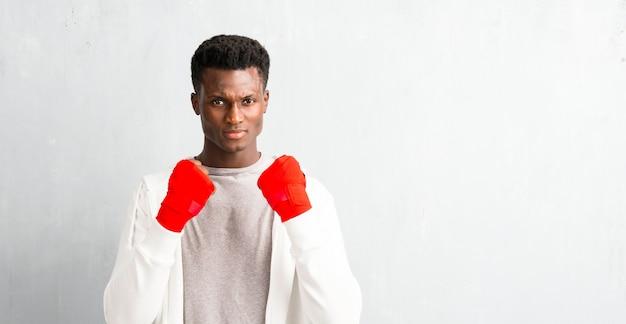 African american sportmanin boksbandages