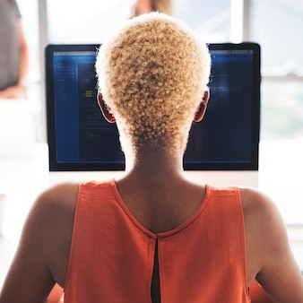 African programmer woman working workplace concept