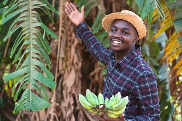Afrikaanse boer man met banaan op biologische boerderij met glimlach en gelukkig. landbouw of teelt concept