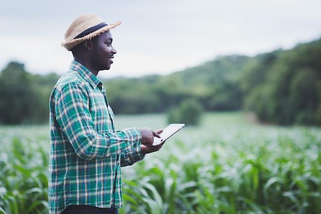 Afrikaanse boer man staan ?? op de groene boerderij