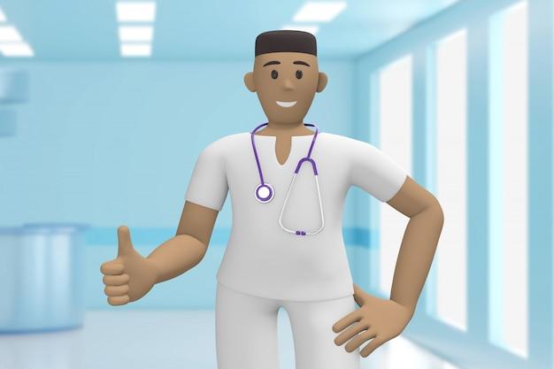 Afrikaanse man arts in het medische interieur van het ziekenhuis duim omhoog. goed, succes. cartoon persoon. 3d-weergave.