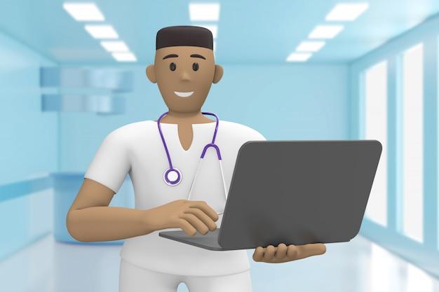 Afrikaanse man arts in het medische interieur van het ziekenhuis heeft een laptop. cartoon persoon. 3d-weergave.