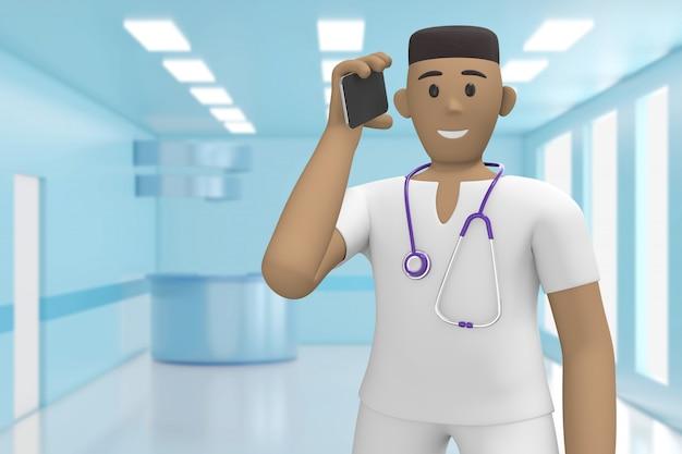 Afrikaanse man arts in het medische interieur van het ziekenhuis spreekt aan de telefoon, neemt de oproep. 3d-weergave.