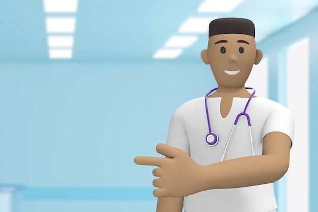Afrikaanse man arts in het ziekenhuis medische interieur met wijsvinger op kopie ruimte. cartoon persoon. 3d-weergave.