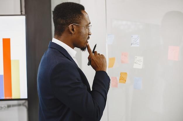 Afrikaanse man in een zwart pak. man schrijven op het glas.