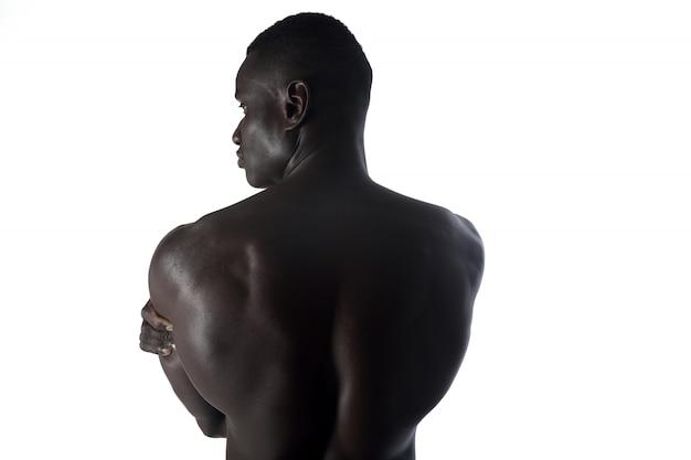 Afrikaanse man terug op wit