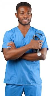 Afrikaanse medische artsenmens die op wit wordt geïsoleerd