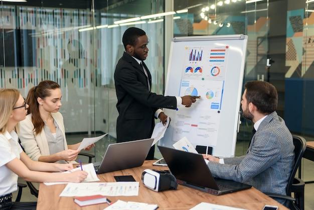 Afro-amerikaanse officemanager die aan zijn attente professionele internationale businessgroep hun nieuwe belangrijke taken voor de komende weken uitlegt.