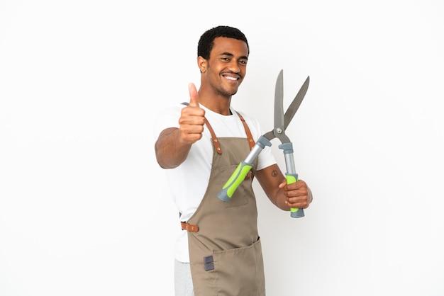 Afro-amerikaanse tuinman man met snoeischaar over geïsoleerde witte achtergrond met duimen omhoog omdat er iets goeds is gebeurd