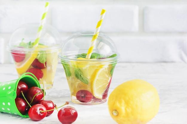 Afslankend water fruit assortiment drankje met munt
