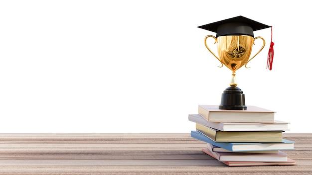 Afstudeerhoed met gouden trofee op houten tafel. 3d render