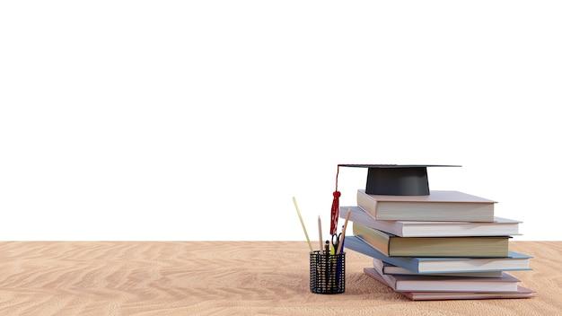 Afstudeerhoed met stapelboeken op houten lijst. 3d render