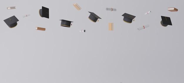 Afstuderen cap en diploma's vliegen over grijze achtergrond