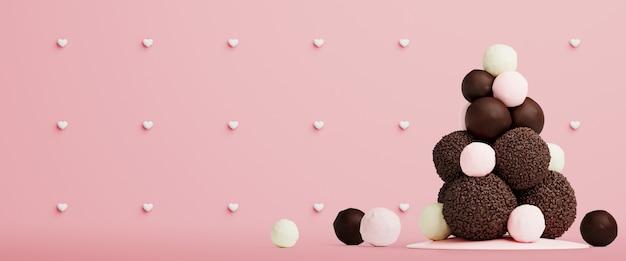 Aftelkalender voor valentijnsdag achtergrond met zoete boom gemaakt van chocolade ballen