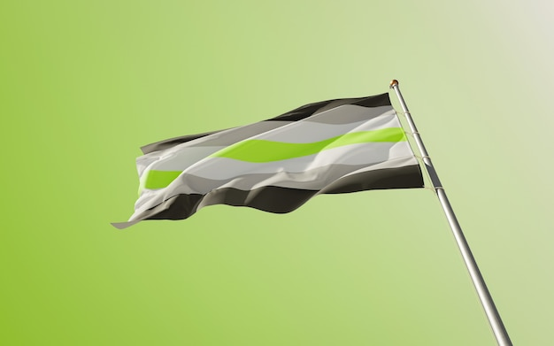 Agender pride-vlag. 3d-illustraties