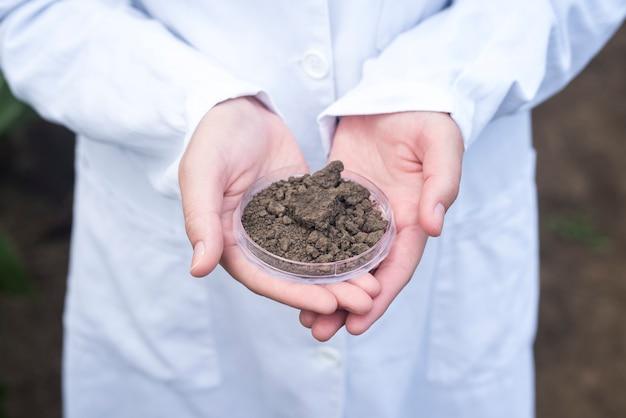 Agronoom handen met grond voor vruchtbaarheidsinspectie