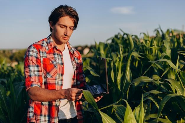 Agronoom staat in een veld en neemt de opbrengst in handen en beschouwt een plant met een laptop