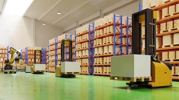 Agv vorkheftrucks-transport meer met veiligheid in het magazijn.