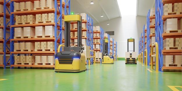 Agv vorkheftrucks-transport meer met veiligheid in magazijn, 3d-rendering