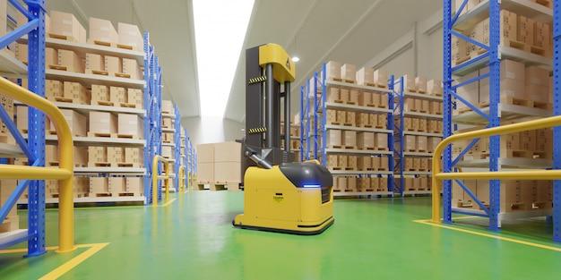 Agv-vorkheftrucks-transporteer meer met veiligheid in magazijn.