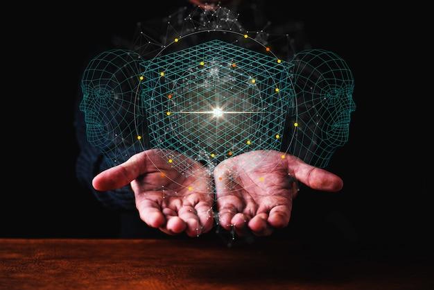 Ai big data ideeën concept zakelijke man hand tonen technologie hologram in de hand donkere blackground