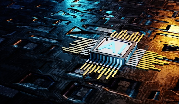 Ai circuit met sci fi geometrisch patroon background.3d rendering